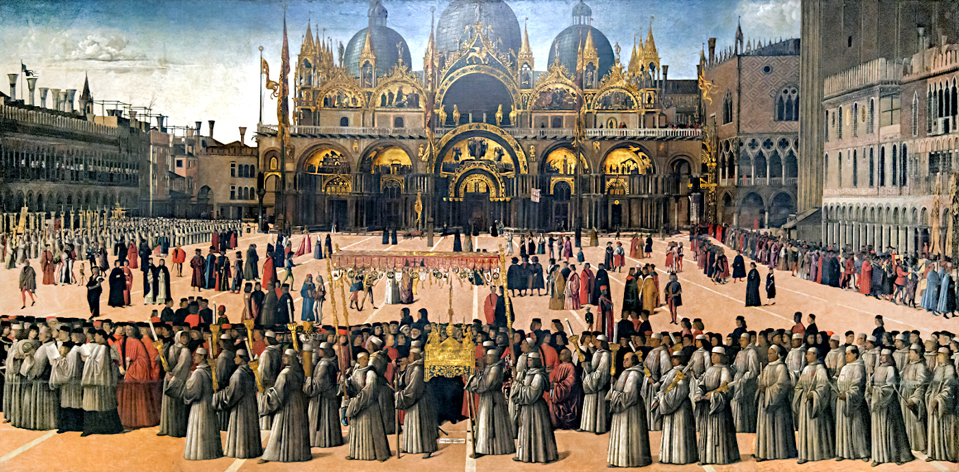 Historical View: Procession in piazza San Marco by Gentile Bellini (from: Wikipedia, the free Encyclopedia)